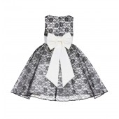 Ivory/Black/Ivory Floral Lace Overlay Flower Girl Dress Elegant Beauty 163T