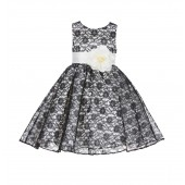 Ivory/Black/Ivory Floral Lace Overlay Flower Girl Dress Formal Beauty 163S