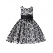 Ivory/Black/Black Floral Lace Overlay Flower Girl Dress Formal Beauty 163S