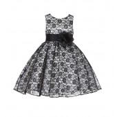 Ivory/Black/Black Floral Lace Overlay Flower Girl Dress Formal Beauty 163S