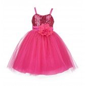 Fuchsia Sequin Tulle Flower Girl Dress Special Events 1508NF