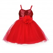 Red Sequin Tulle Flower Girl Dress Special Events 1508NF