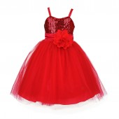 Red Sequin Tulle Flower Girl Dress Special Occasions 1508S