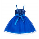 Royal Blue Sequin Tulle Flower Girl Dress Special Occasions 1508S