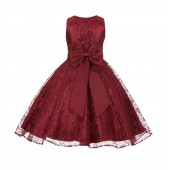Burgundy Floral Lace Overlay V-Neck Flower Pin Flower Girl Dress 166T