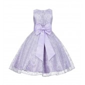 Lilac Floral Lace Overlay V-Neck Flower Pin Flower Girl Dress 166T