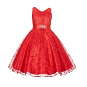 Red Floral Lace Overlay V-Neck Rhinestone Flower Girl Dress 166S