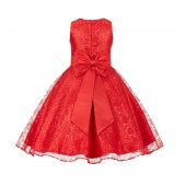 Red Floral Lace Overlay V-Neck Flower Pin Flower Girl Dress 166T