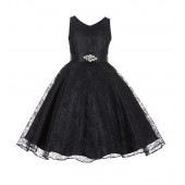 Black Floral Lace Overlay V-Neck Rhinestone Flower Girl Dress 166S