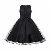 Black Floral Lace Overlay V-Neck Flower Pin Flower Girl Dress 166T