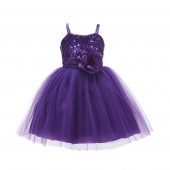 Purple Spaghetti-Straps Sequin Tulle Flower Girl Dress Elegant B-1508