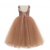 Rose Gold Vintage Corset Flower Girl Dress Tutu Dress 205