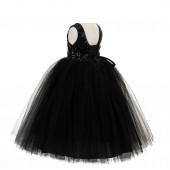 Black Vintage Corset Flower Girl Dress Tutu Dress 205