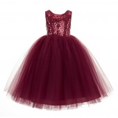Burgundy Vintage Corset Flower Girl Dress Tutu Dress 205