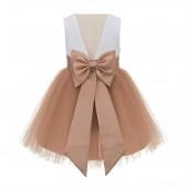 Rose Gold Backless Lace Flower Girl Dress V-Back 206T