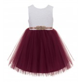 Burgundy / Rose Gold Backless Lace Flower Girl Dress V-Back 206R1