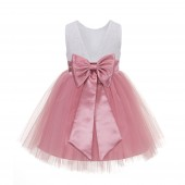 Dusty Rose Backless Lace Flower Girl Dress V-Back 206T