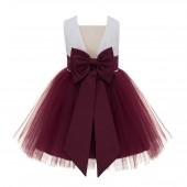 Burgundy Backless Lace Flower Girl Dress V-Back 206T