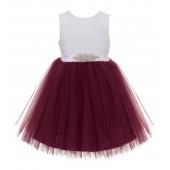 Burgundy / White Backless Lace Flower Girl Dress Rhinestone 206R3