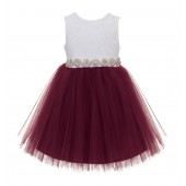 Burgundy / Ivory Backless Lace Flower Girl Dress V-Back 206R2