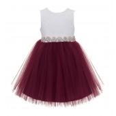 Burgundy / White Backless Lace Flower Girl Dress V-Back 206R2