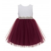Burgundy / Ivory Backless Lace Flower Girl Dress Rhinestone 206R4