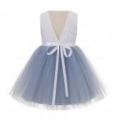 Dusty Blue / White Backless Lace Flower Girl Dress Rhinestone 206R4