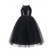 Black Sequin Halter Flower Girl Dress 202