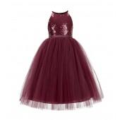 Burgundy Sequin Halter Flower Girl Dress 202