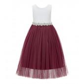 Burgundy Scalloped V-Back Lace A-Line Flower Girl Dress 207R2