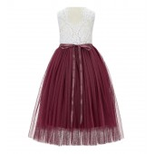 Burgundy Scalloped V-Back Lace A-Line Flower Girl Dress 207R4