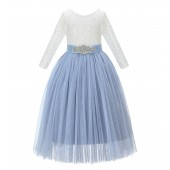 Dusty Blue A-Line V-Back Lace Flower Girl Dress with Sleeves 290R3