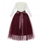 Burgundy A-Line V-Back Lace Flower Girl Dress with Sleeves 290R3