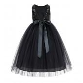 Black Sequin V-Back Flower Girl Dress LG1
