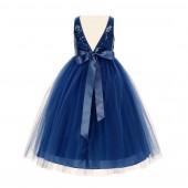 Navy Blue Sequin V-Back Flower Girl Dress LG1