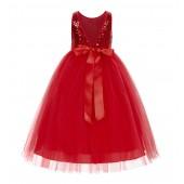 Red Sequin V-Back Flower Girl Dress LG1