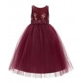 Burgundy Sequin V-Back Flower Girl Dress LG1