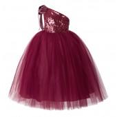 Burgundy One-Shoulder Sequins Tutu Flower Girl Dress 182