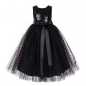 Black Sequin Heart Cutout Tulle Flower Girl Dress 172seq