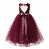Burgundy Sequin Heart Cutout Tulle Flower Girl Dress 172seq