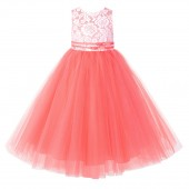 Coral Lace Tulle Tutu Flower Girl Dress 188