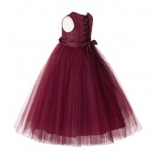 Burgundy Lace Tulle Tutu Flower Girl Dress 188