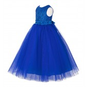 Royal Blue Lace Tulle Tutu Flower Girl Dress 188
