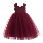 Burgundy Sweetheart Neck Top Tutu Flower Girl Dress 201