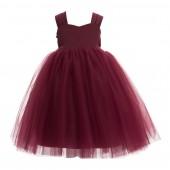Burgundy Sweetheart Neck Top Tutu Flower Girl Dress 201