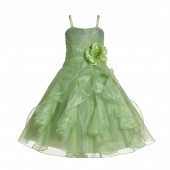 Apple Green Shimmering Organza Rhinestones Flower Girl Dress Formal J120NF