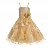 Gold Shimmering Organza Rhinestones Flower Girl Dress Formal J120NF