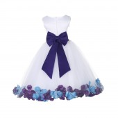 White/Cadbury-Turquoise Tulle Mixed Rose Petals Flower Girl Dress 302T