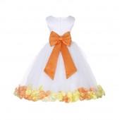 White/Orange-Sunbeam Tulle Mixed Rose Petals Flower Girl Dress 302T