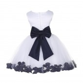White/ Midnight Rose Petals Tulle Flower Girl Dress Wedding 305T